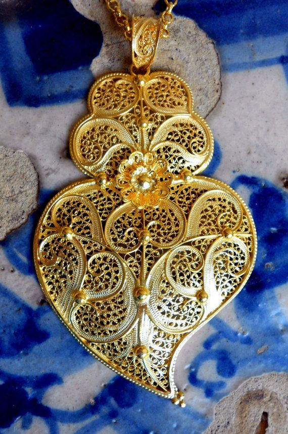 Portugal HUGE Filigree Handmade Heart of Minho Viana by Atrio