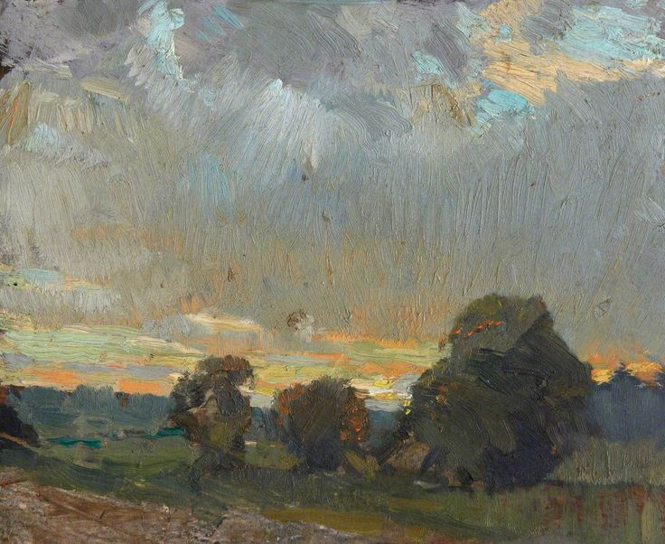 """Landscape with Evening Sky"" by Sir William Gillies (oil on board)"