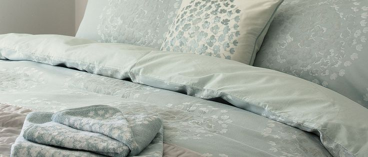 Coco Jacquard Duck Egg Duvet Cover at Laura Ashley