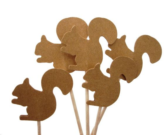 24 Kraft Brown Squirrel Party Picks, Cupcake Toppers, Food Picks, Toothpicks, Drink Picks - No856