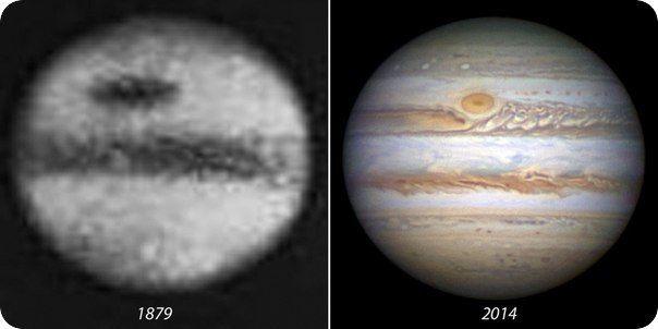 Космос и Астрономия  Снимки Юпитера разных эпох. Да, в 1879 году смогли получить изображение Юпитера.