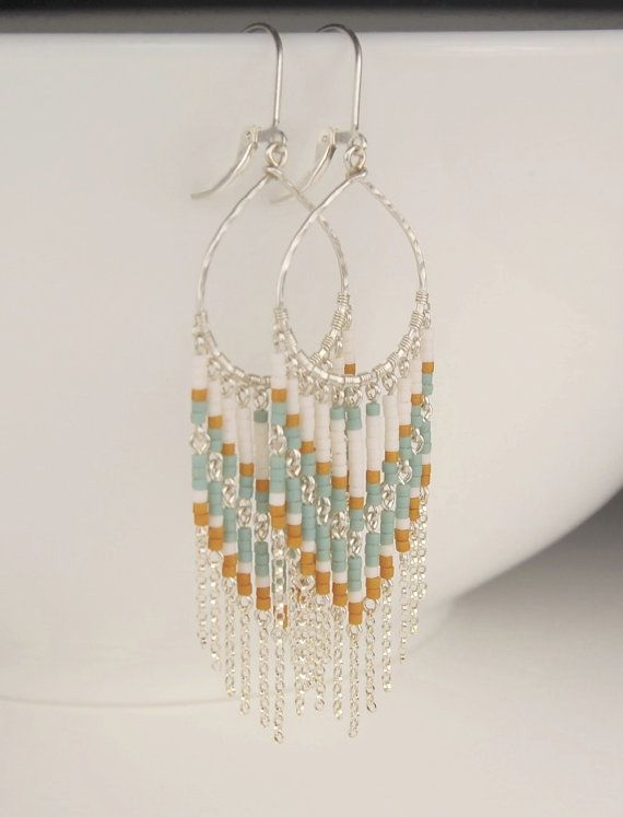 "Beaded fringe earrings, sterling silver chandelier earrings ""Zola"" wire wrapped handmade hoop, long dangle earrings, leverback earrings"