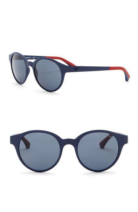 be383a3adb35 Emporio Armani - 51mm Round Acetate Frame Sunglasses