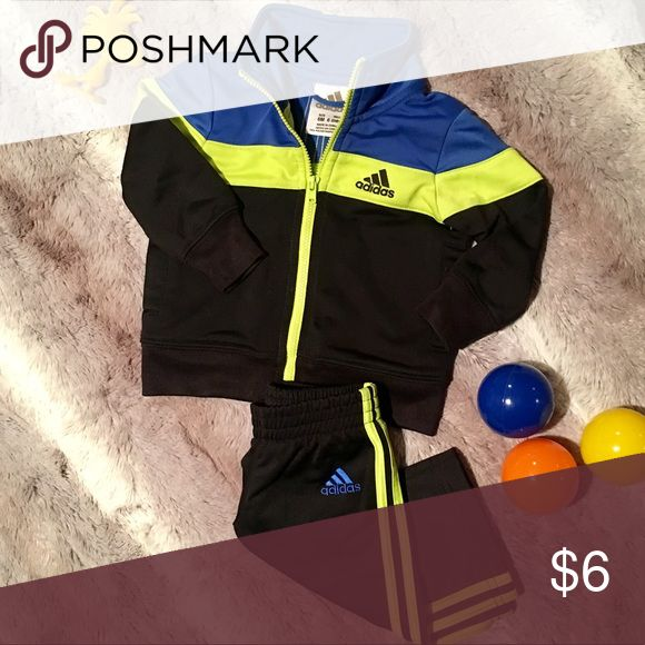 Adorable Baby Boy Adidas Track Suit!!!!!! 6mos Beautiful track suit, looks like it was never worn. Blue and neon yellow colors pop and I had tons of people stop and ask me where I got it when I strolled my son around!!! adidas Matching Sets
