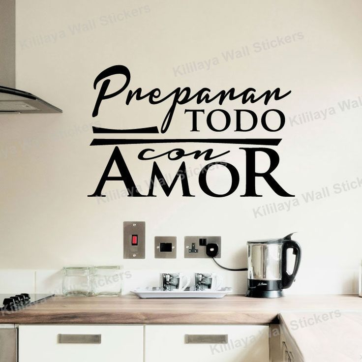 Stickers Cuisine Spanish Vinyl Wall Tile Sticker Wall Decals Quote Lettering Wallpaper for Kitchen Decoration Home Decor