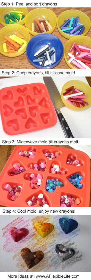 DIY Afternoon Kid Craft. Upcycled crayons in silicone ice cube molds. By @Jennifer Flexible