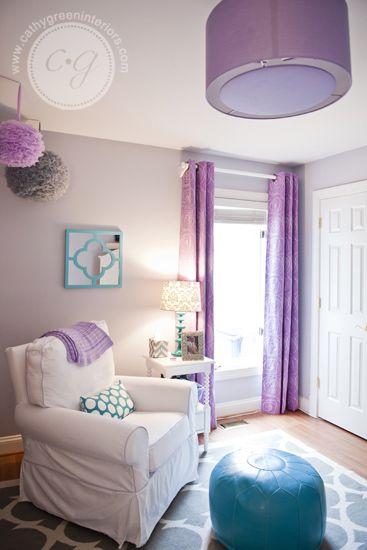 Purple & Gray Girl's Nursery ~ Cathy Green Interiors