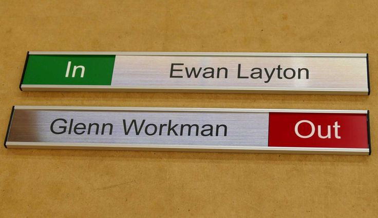Room status signs made to order, 1 or more with name and room status as you require. Check the range.