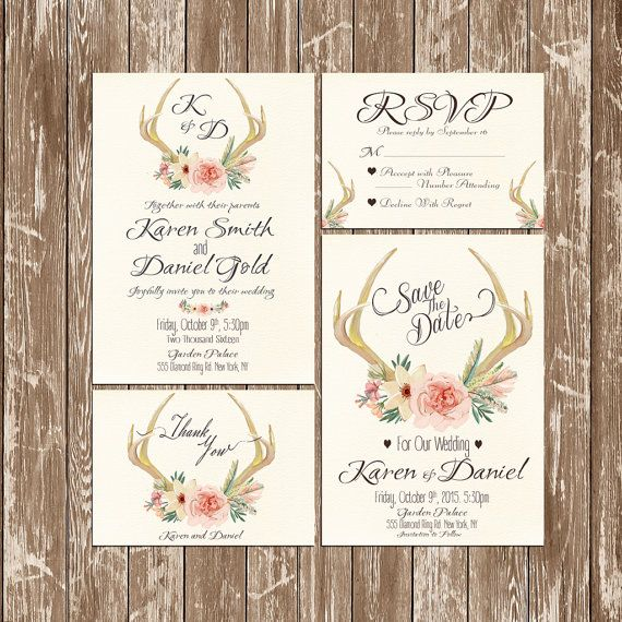 Deer Antler Wedding Invitation rustic watercolor Set/Suite Wedding invitation Save the date RSVP Thank You Cards Printable digital files