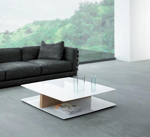 Moderna mesa de centro en blanco con pie central mesas for Mesas de centro modernas