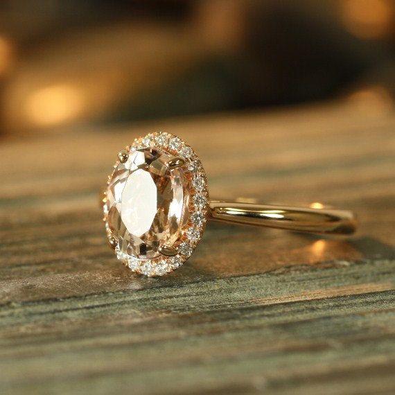 Handmade Natural Morganite Engagement Ring 9x7mm Oval Peach Apricot Morganite Halo Diamond Ring 14k Rose Gold