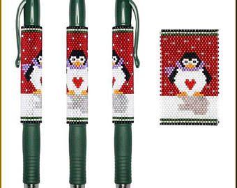 Holiday Penguin Pilot G2 Peyote Pen Cover Pattern by Kristy Zgoda