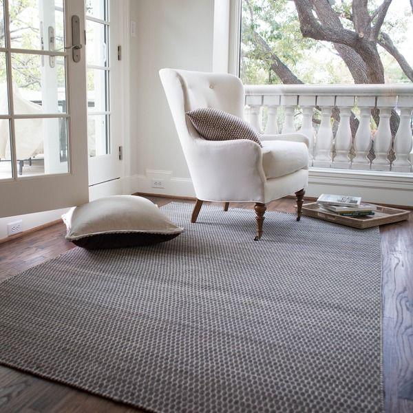 368 Hand Woven Poplin Charcoal Wool Cotton Rug 7 10 X