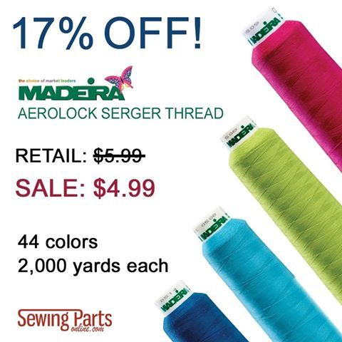 http://www.sewingpartsonline.com/ Madeira Aerolock Thread is a strong, premium, 100% polyester serger thread. It holds color even after years of laundering. It's composed of 2-ply, core-spun thread and is suitable for use in your overlocker's needles and loopers.  Like all Madeira thread, each cone undergoes extensive quality testing to ensure you have the best serging experience.  Best of all, our Madeira Aerolock Serger Thread is 17% off! Originally priced at $5.99, our 2,000-yard cones…