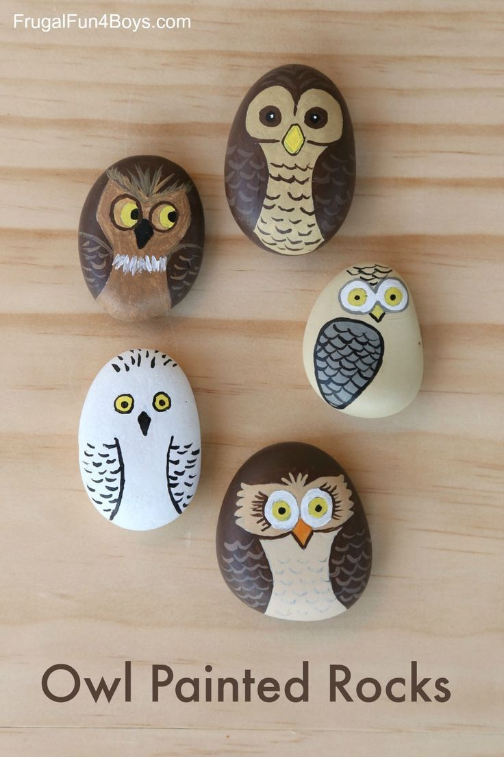 Owl Painted Rocks – Fun Handwerksprojekt   – Nature Craft for Kids