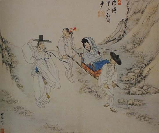 (Korea) 携妓踏楓 by Shin Yun-bok (1758- ?). aka Hyewon. ca 18th century CE. colors on paper.