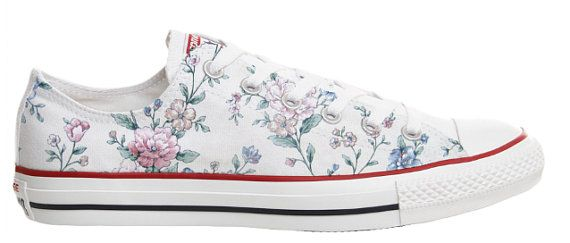 d66182f7a367 vintage style flower power girly feminine design custom converse low top  shoes - printed onto geneuine converse chucks