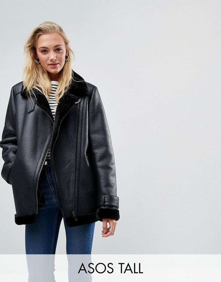 Buy it now. ASOS TALL Aviator in Faux Leather - Black. Tall j acket by ASOS TALL, Faux-leather outer, Faux-fur lining, Notch lapels, Zip fastening, Functional pockets, Regular fit - true to size, Dry clean, 100% Polyester, Our model wears a UK 8/EU 36/US 4 and is 178cm/5'10 tall. Find fresh wardrobe wins with our ASOS TALL edit. Raise your sunrise-till-sunset game with occasion dresses, cool separates and jeans that go up to a 38� leg length and are perfectly proportioned to fit girls who…