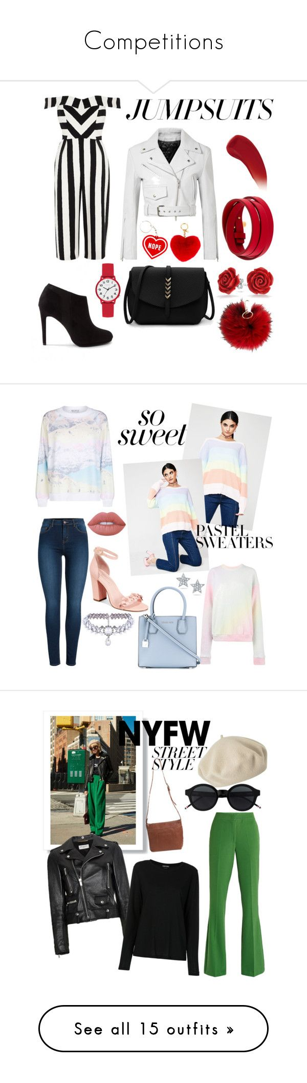 """""""Competitions"""" by gmonster12 ❤ liked on Polyvore featuring River Island, New Look, Calvin Klein 205W39NYC, Lipstick Queen, MICHAEL Michael Kors, Tom Ford, GUESS, Bling Jewelry, Furla and jumpsuits"""
