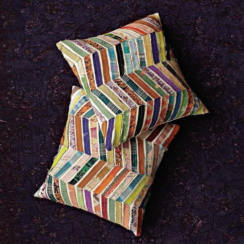 Kantha Chevron Pillows from West Elm: Westelm, Idea, Chevron Pillows, Living Room, Kantha Chevron, Pillow Covers, Scrap Fabric, Design, West Elm