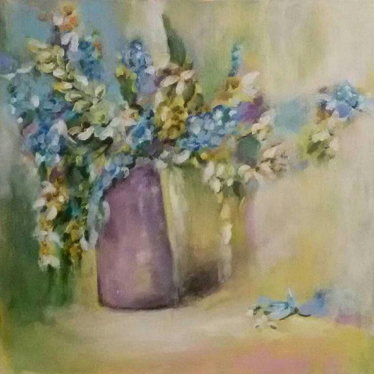 """""""Drobné květy"""", akryl na sololitu 30x30 cm."""