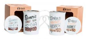 """Taza infusion con frases bonitas - Taza infusion con filtro y tapa de porcelana, cuyo mensajes son """"Sonrie hoy sera un dia perfecto"""" y…"""