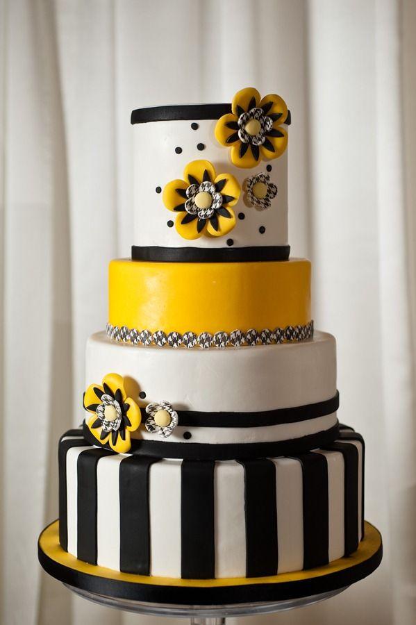 Lavish and Fabulous ~ Black White & Yellow Whimsical Cake.