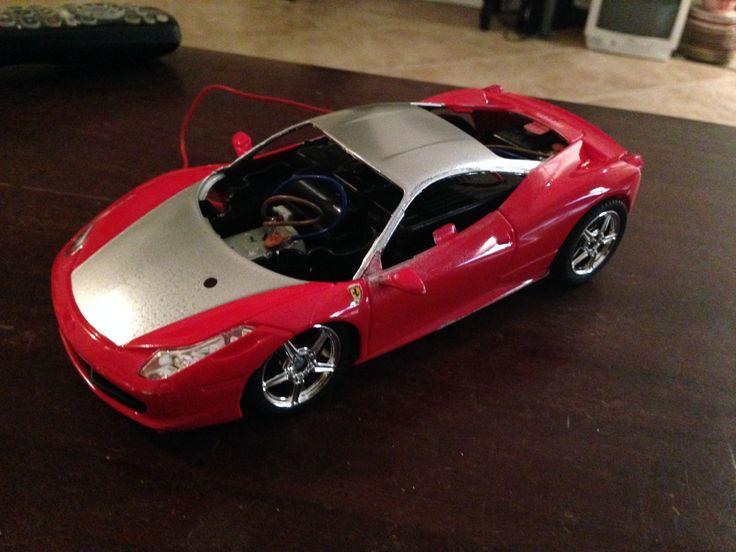 This model rc car rat look project in progress, Ferrari body lowered, metallic areas added.