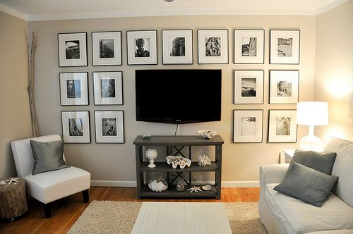 framed black and white prints in media room / family roomDecor Ideas, Black And White, Tv Wall, Gallery Walls, Living Room, Photos Wall, Tvs, Pictures Wall, Entertainment Center