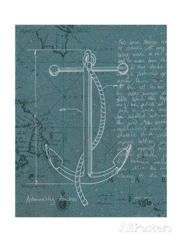 Coastal Blueprint VIII Dark Poster van Marco Fabiano bij AllPosters.nl