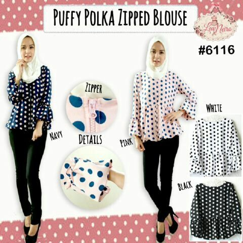 6116 puffy polka zipped top @ 75000 bahan safira texture 4 warna