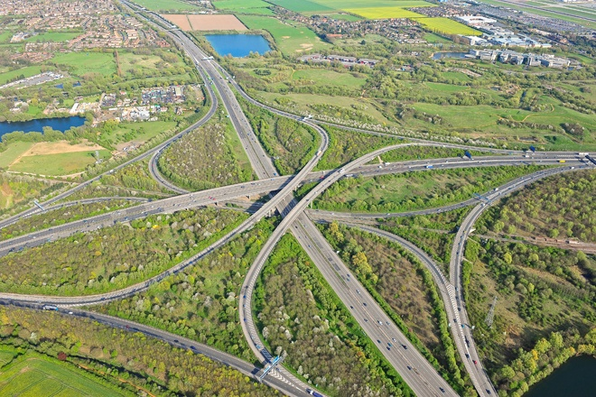 An aerial photograph of the M25 and M4 motorway junction in the west of London
