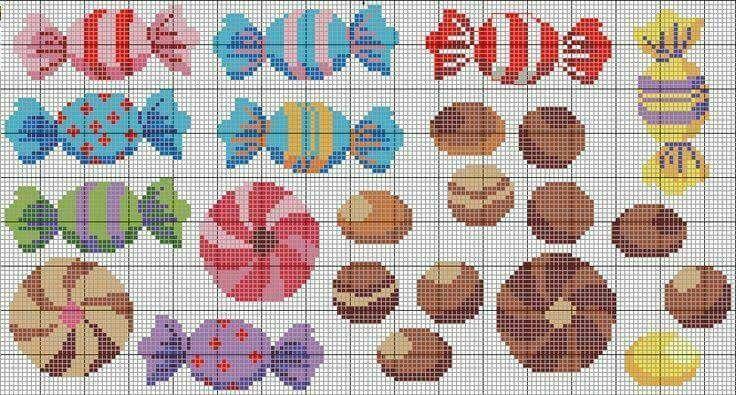 punto croce caramelle - Cerca con Google
