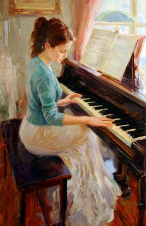 pinturas mujeres tocando piano - Buscar con Google