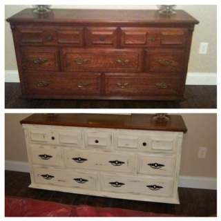 My before after dresser painted with annie sloan chalk paint in old white l i v i n g r o o - Before and after old dressers makeover with a little paint ...