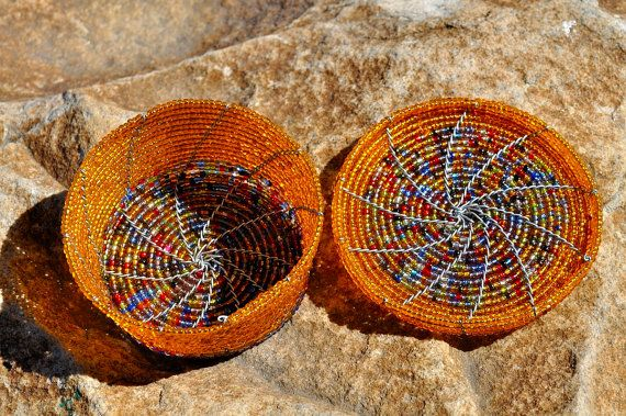 Beaded Jewelry Box African wire & bead bowl / by akwaabaAfrica, $29.00