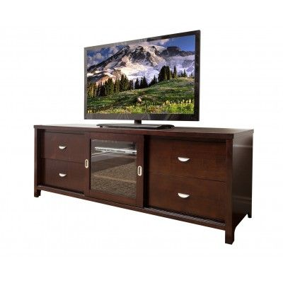 Abbyson Living Berks Solid Oak Cherry Wood 72 Inch TV Console