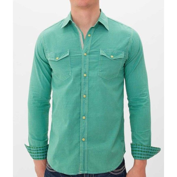Age Of Wisdom Dyed Shirt - Green Small ($35) ❤ liked on Polyvore featuring men's fashion, men's clothing, men's shirts, men's casual shirts, green, mens green shirt and mens snap front shirts
