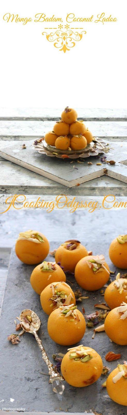 Jagruti's Cooking Odyssey: Mango, Badam, Coconut Ladoo - The season of fast and feast is here !
