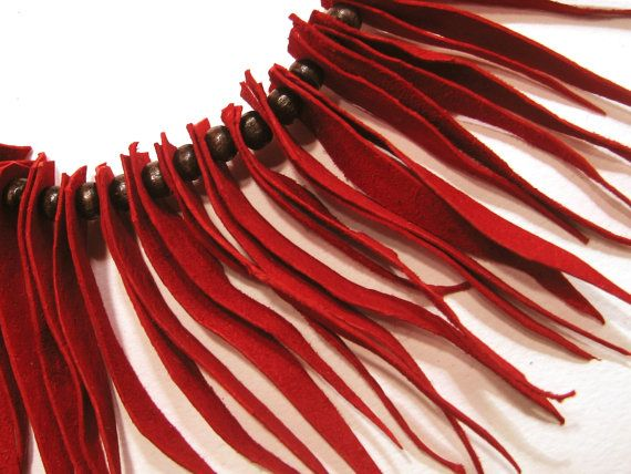 Statement Necklace Leather Jewelry Red Suede Fringe by maslinda