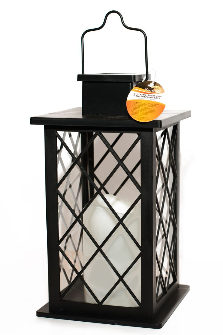 Outdoor Solar powered lantern with flickering pillar candle inside