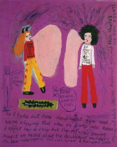 'The Gum Fights' Oil and ink on vinyl Saskia Leek  http://www.coca.org.nz