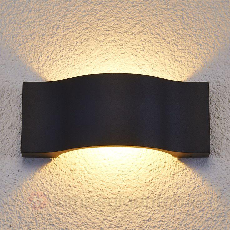 Elegant LED-utendørs Jace vegglampe i grafitt 9616046