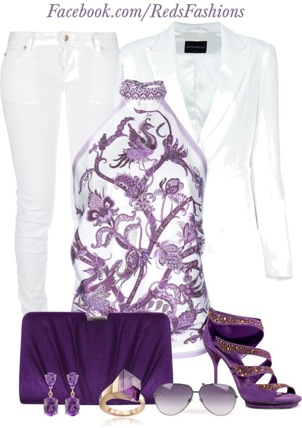 """Purple & White"" by missred76 ❤ liked o  Love the outfit, but no place to wear and not sure i would make it out of the house still white! Beautiful :-)"