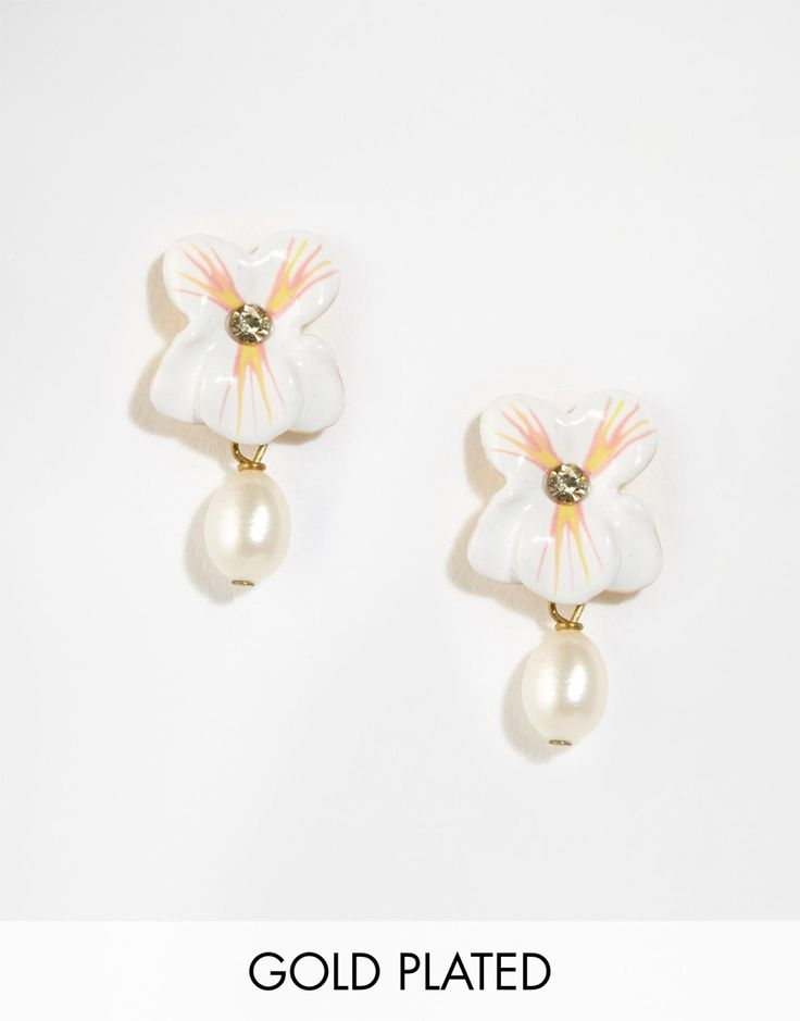 Les Nereides Floral Stud Earrings With Bead Drop - White