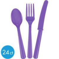 Purple Cutlery Set 24ct