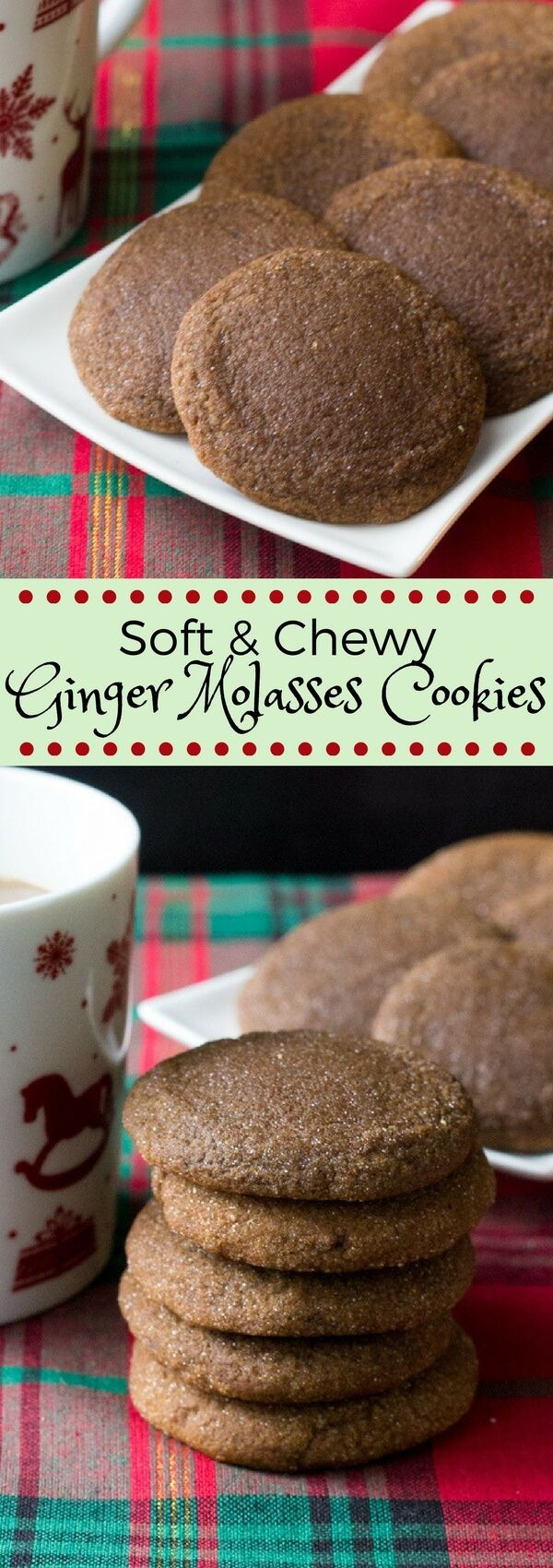 The softest, chewiest ginger molasses cookies. With brown sugar, molasses & lots of spices - this easy recipe is perfect for the holidays! #gingermolassescookies #gingerbread #gingercookies