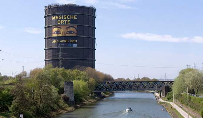 Get more information about the Gasometer Oberhausen on Hostelman.com #attraction #Germany #landmark #travel #destinations #tips #packing #ideas #budget #trips #ruhr #industrial #heritage #trail