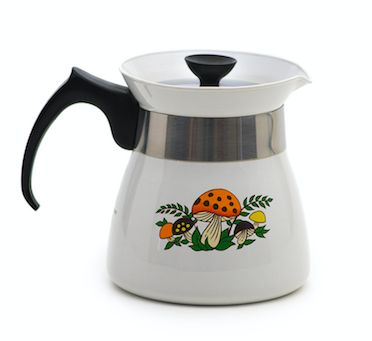 """Corning ware """"mellow mushroom"""" teapot in nearly perfect condition. In our shop!! #livemellow #home #decor #teapot #corningware #mellowmushroom #midcentury #modern"""