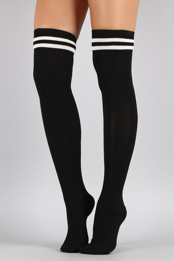 Fashion look from june 2014 featuring thigh high hosiery purple - Shop Double Stripe Textured Thigh High Socks Featuring Cable Knit Ribbed Texture Double Stripes At The Top And Elastic Ribbed Cuffs